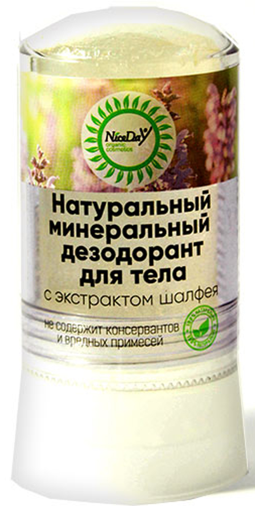 Nice Day Натуральный минеральный дезодорант для тела с экстрактом шалфея, 60 г