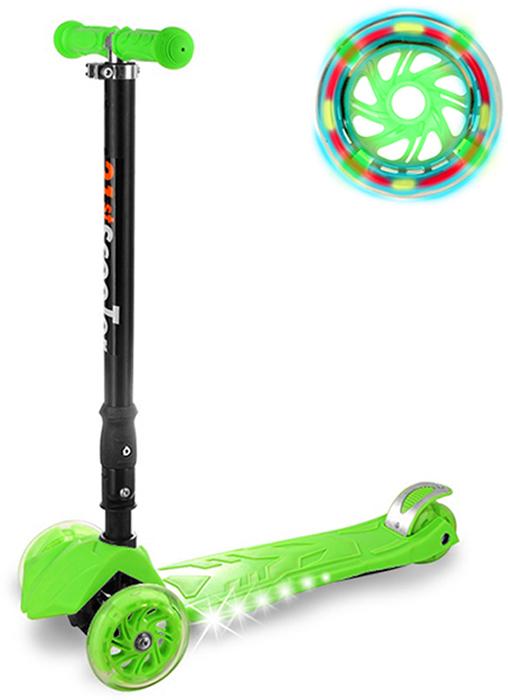 """Самокат детский """"Buggy Boom"""", трехколесный, с регулируемой складной ручкой, светящимися колесами, цвет: светло-зеленый"""