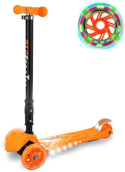 Самокат детский Buggy Boom, трехколесный, с регулируемой складной ручкой, светящимися колесами, цвет: оранжевый014-3Руль складывается и регулируется по высоте, колеса светятся, дека подсвечивается с боков.