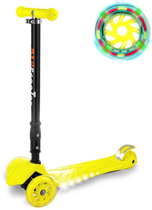 Самокат детский Buggy Boom, трехколесный, с регулируемой складной ручкой, светящимися колесами, цвет: желтый014-4Руль складывается и регулируется по высоте, колеса светятся, дека подсвечивается с боков.