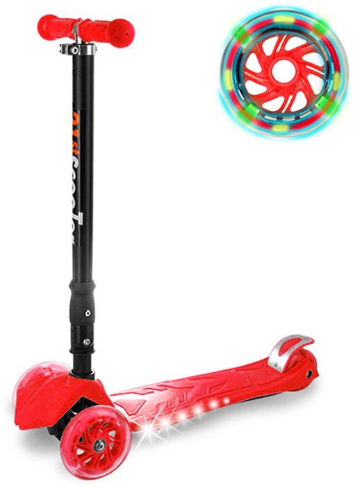 Самокат детский Buggy Boom, трехколесный, с регулируемой складной ручкой, светящимися колесами, цвет: красный014-5Руль складывается и регулируется по высоте, колеса светятся, дека подсвечивается с боков.