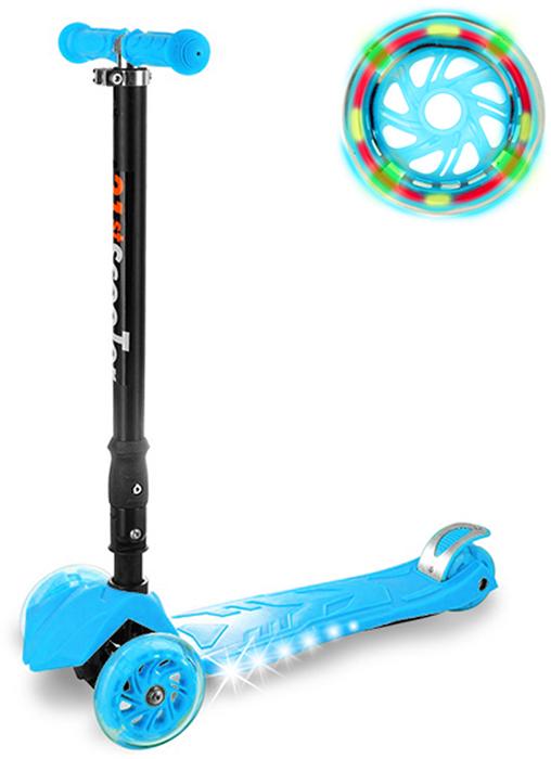 Самокат детский Buggy Boom, трехколесный, с регулируемой складной ручкой, светящимися колесами, цвет: голубой014-6Руль складывается и регулируется по высоте, колеса светятся, дека подсвечивается с боков.