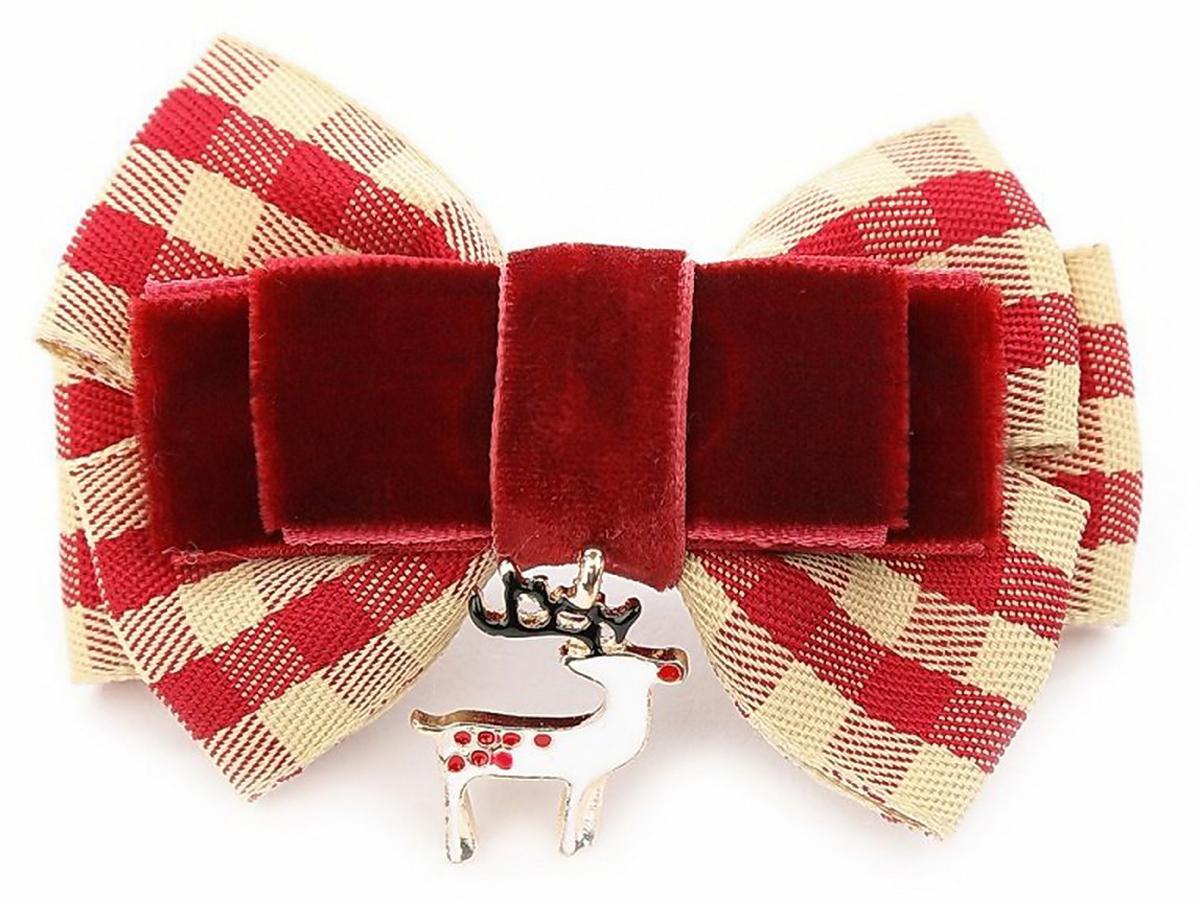 "Заколка для волос Malina By Андерсен ""Рождество"", цвет: бордовый. 41601тб54"