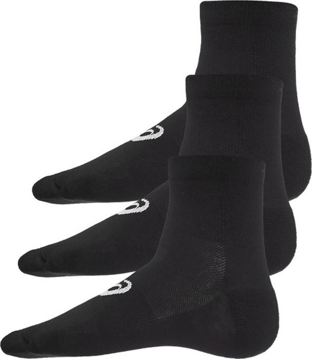 Носки мужские Asics 3PPK Quarter, цвет: черный, 3 пары. 155205-0900. Размер 39/42155205-0900Спортивные носки Asics 3PPK Quarter изготовлены из высококачественного трикотажа. Удобная резинка не сдавливает и комфортно облегает ногу. Обладают повышенной прочностью, благодаря усиленной пятке и мыску. Воздухопроницаемость и вентиляция за счет тонких сетчатых зон. Плоский шов в зоне большого пальца для предотвращения давления и натирания.Оформлены носки логотипом бренда.В комплект входят три пары носков.