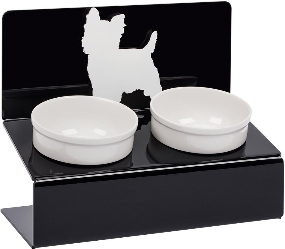 Миска для животных Artmiska  Йорк , двойная, на подставке, цвет: черный, 2 x 350 мл - Аксессуары для кормления