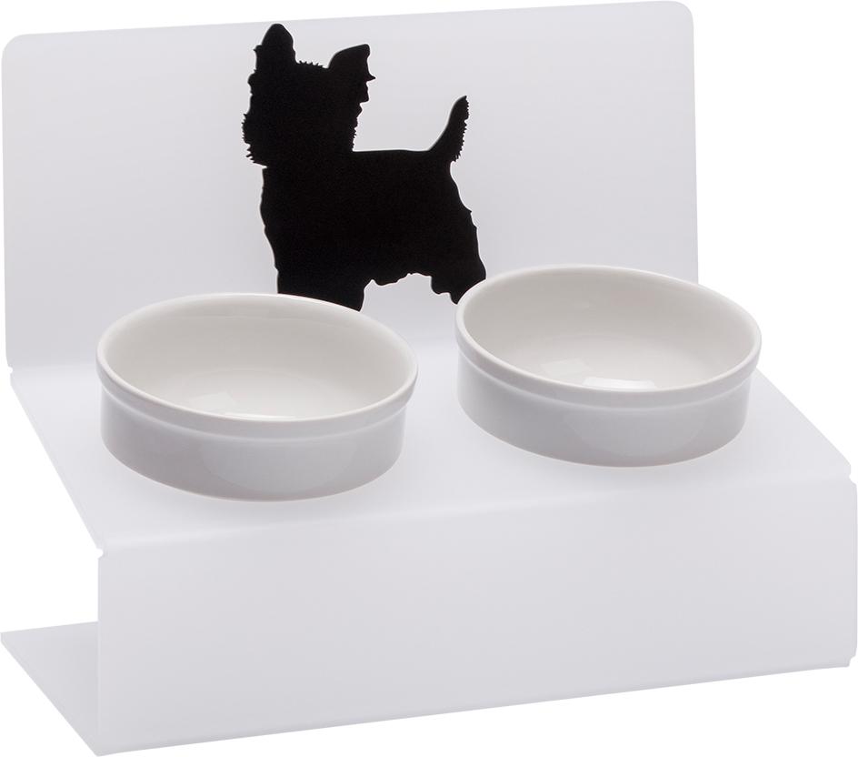 Миска для животных Artmiska  Йорк , двойная, на подставке, цвет: белый, полупрозрачный, 2 x 350 мл - Аксессуары для кормления