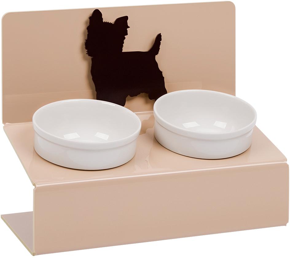 Миска для животных Artmiska  Йорк , двойная, на подставке, цвет: кремовый, 2 x 350 мл - Аксессуары для кормления