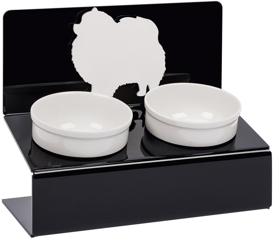 Миска для животных Artmiska  Шпиц , двойная, на подставке, цвет: черный, 2 x 350 мл - Аксессуары для кормления