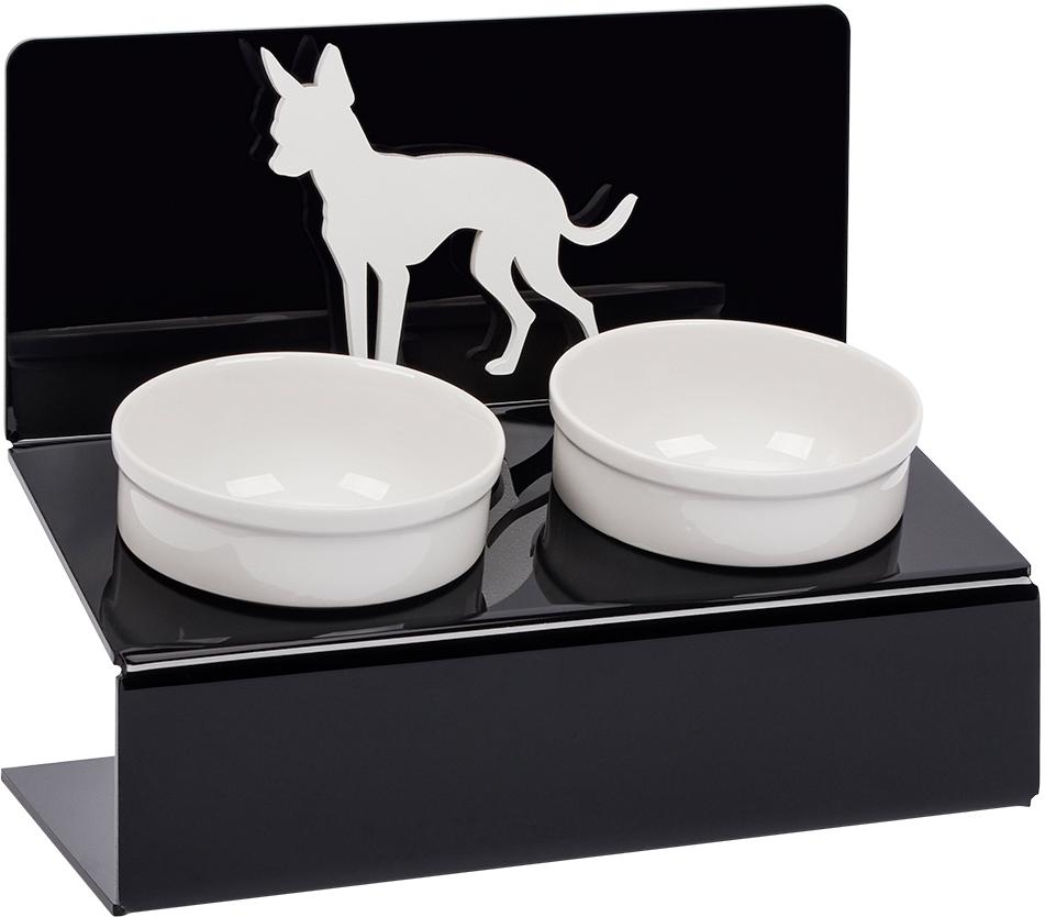 Миска для животных Artmiska  Той терьер , двойная, на подставке, цвет: черный, 2 x 350 мл - Аксессуары для кормления