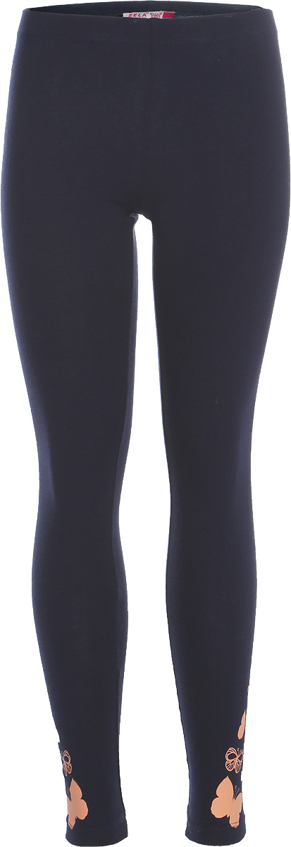 Брюки для девочки Sela, цвет: темно-синий. PLG-615/1027-8263. Размер 140, 10 летPLG-615/1027-8263