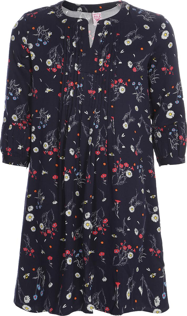 Платье для девочки Sela, цвет: темно-синий. D-617/887-8131. Размер 128, 8 летD-617/887-8131