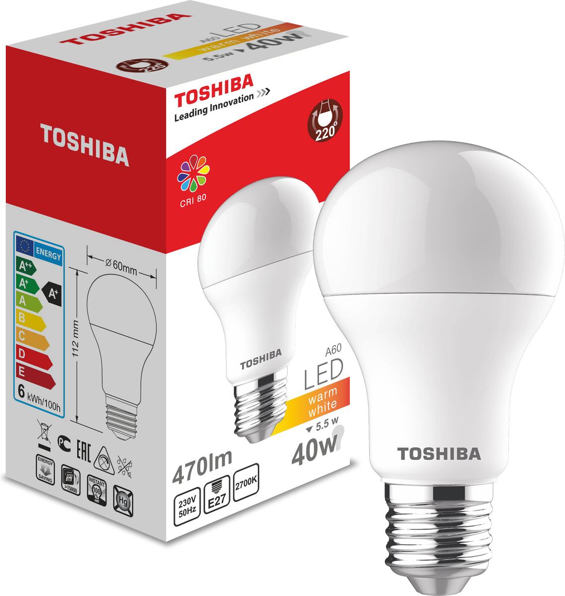 Лампа светодиодная Toshiba, теплый свет, цоколь E27, 5,5W, 2700K. 101315010B101315010BСветодиодная лампа Toshiba А60 5,5W 2700K, Е27, 470 Люмен, А+5 лет гарантии!
