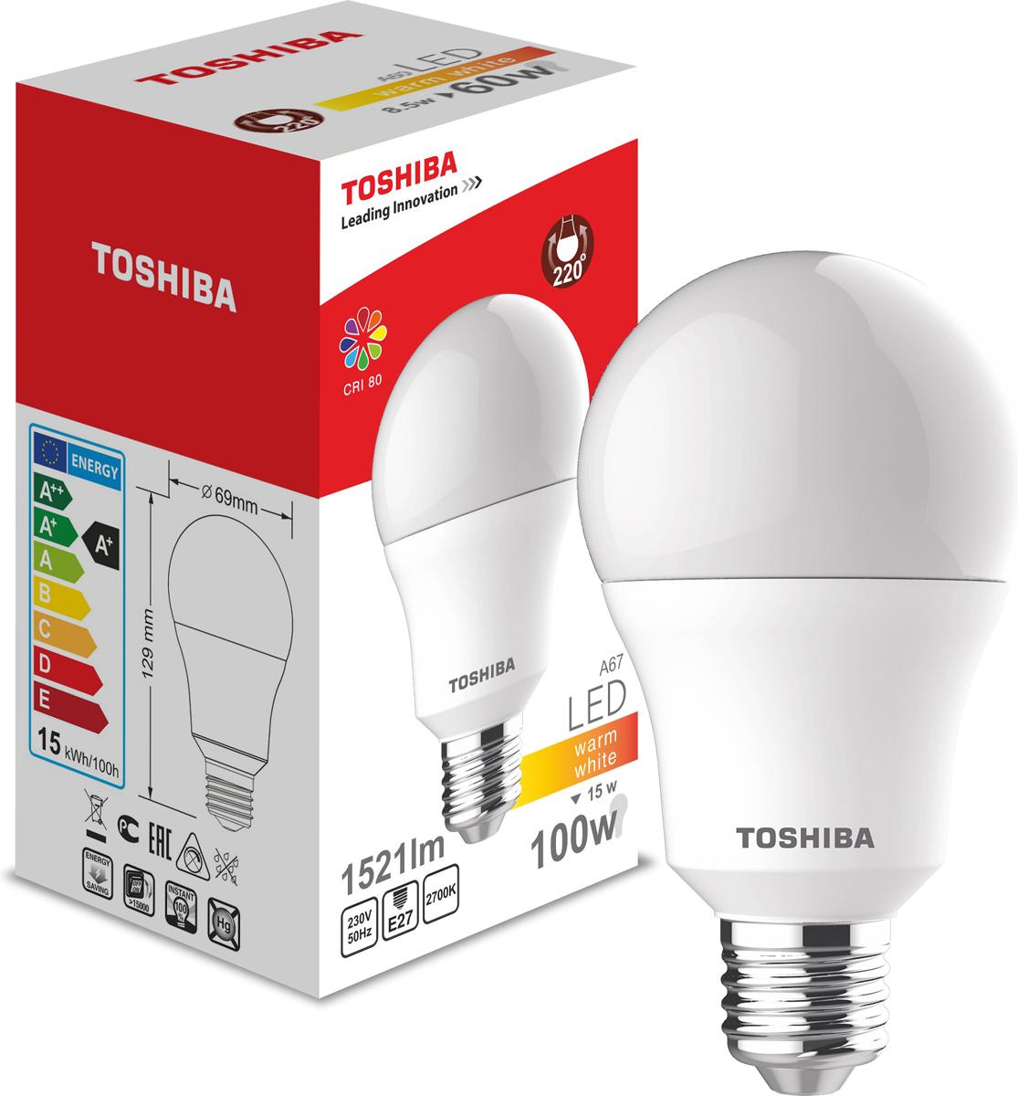 Лампа светодиодная Toshiba, теплый свет, цоколь E27, 15W, 2700K. 101315131A101315131AЛампа светодиодная Toshiba является самым перспективным источником света. Основным преимуществом данного источника света является длительный срок службы и очень низкое энергопотребление, так, например, по сравнению с обычной лампой накаливания светодиодная лампа служит в среднем в 50 раз дольше и потребляет в 10-15 раз меньше электроэнергии.При этом светодиодная лампа практически не подвержена механическому воздействию из-за прочной конструкции и позволяет получить любой цвет светового потока, что, несомненно, расширяет возможности применения и позволяет создавать новые решения в области освещения.