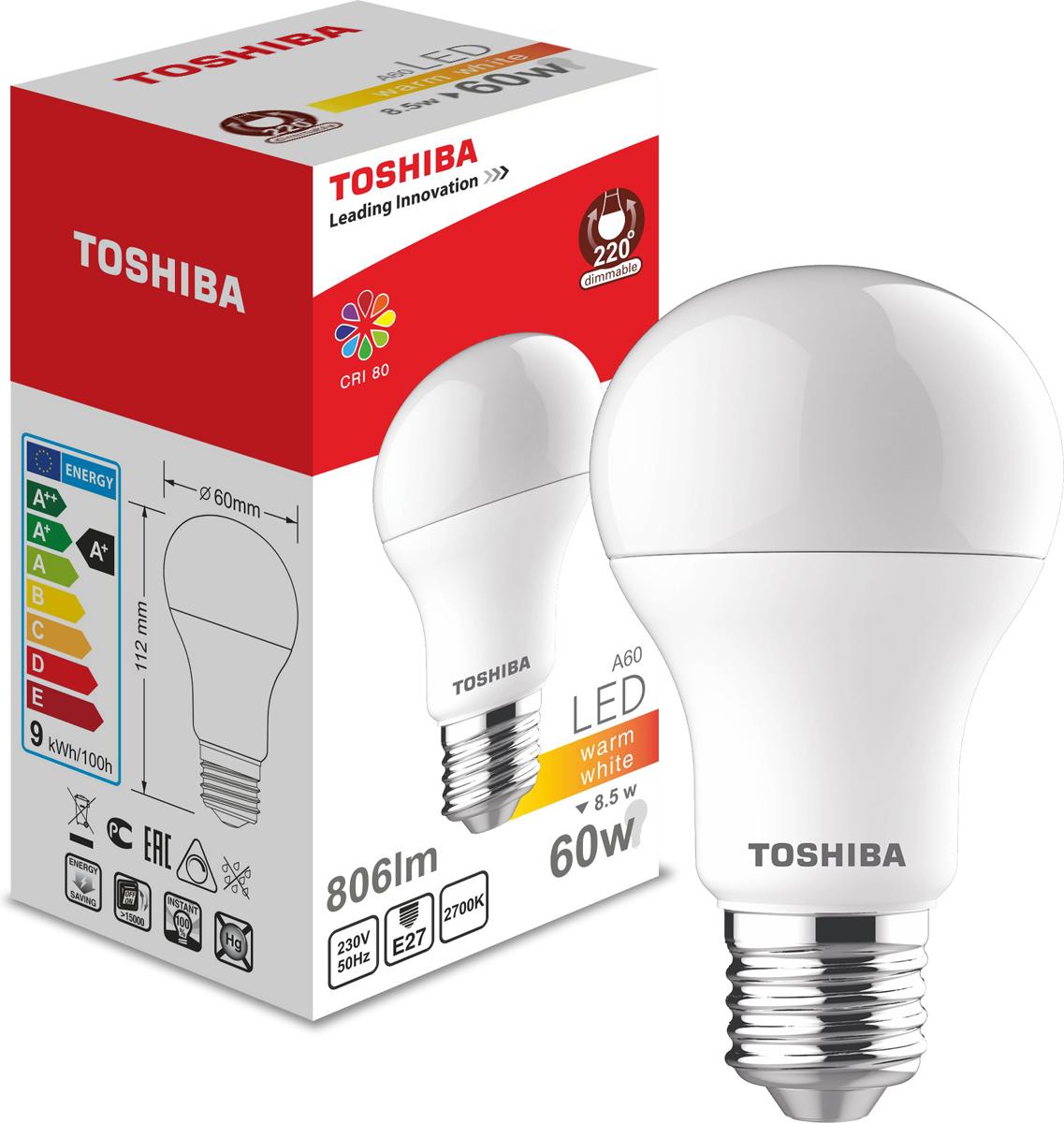 Лампа светодиодная Toshiba, теплый свет, цоколь E27, 8,5W, 2700K. 101315164A101315164AЛампа светодиодная Toshiba является самым перспективным источником света. Основным преимуществом данного источника света является длительный срок службы и очень низкое энергопотребление, так, например, по сравнению с обычной лампой накаливания светодиодная лампа служит в среднем в 50 раз дольше и потребляет в 10-15 раз меньше электроэнергии.При этом светодиодная лампа практически не подвержена механическому воздействию из-за прочной конструкции и позволяет получить любой цвет светового потока, что, несомненно, расширяет возможности применения и позволяет создавать новые решения в области освещения.