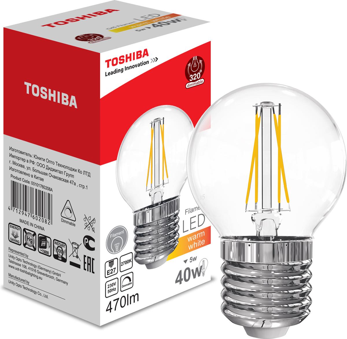 Лампа филаментная Toshiba, теплый свет, цоколь E27, 5W, 2700K. 101760208A101760208AФиламентные лампы, хоть и относятся к светодиодным, но и внешне, и конструктивно достаточно сильно от них отличаются. Несведущему человеку вообще может показаться, что это обычная лампа накаливания, только немного со странностями. На самом деле филаментные светодиодные лампы объединили лучшие качества привычных нам лампочек Ильича и современных led-ламп. Результат получился интересный, экономичный, экологичный и глазу весьма приятный. Филамент – основной функциональный элемент такой лампы, представляет собой светодиодную полоску особой конструкции. Внешним видом филаменты напоминают нить, потому некоторые так их и называют – лампочки на светодиодных нитях.