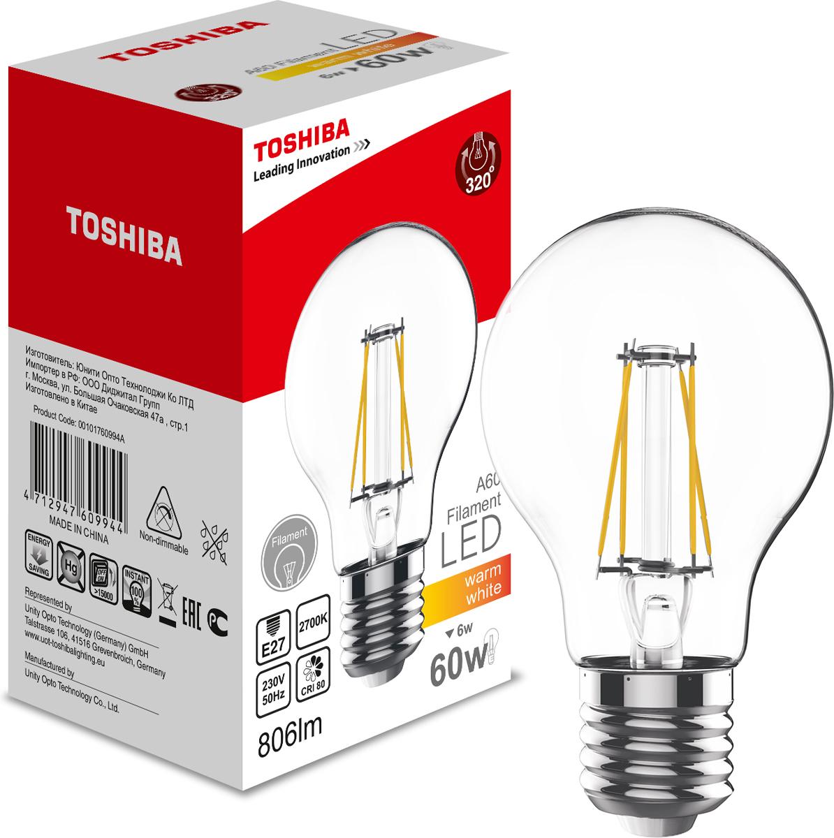 Лампа филаментная Toshiba, теплый свет, цоколь E27, 6W, 2700K. 101760994A101760994AФиламентные лампы, хоть и относятся к светодиодным, но и внешне, и конструктивно достаточно сильно от них отличаются. Несведущему человеку вообще может показаться, что это обычная лампа накаливания, только немного со странностями. На самом деле филаментные светодиодные лампы объединили лучшие качества привычных нам лампочек Ильича и современных led-ламп. Результат получился интересный, экономичный, экологичный и глазу весьма приятный. Филамент – основной функциональный элемент такой лампы, представляет собой светодиодную полоску особой конструкции. Внешним видом филаменты напоминают нить, потому некоторые так их и называют – лампочки на светодиодных нитях.