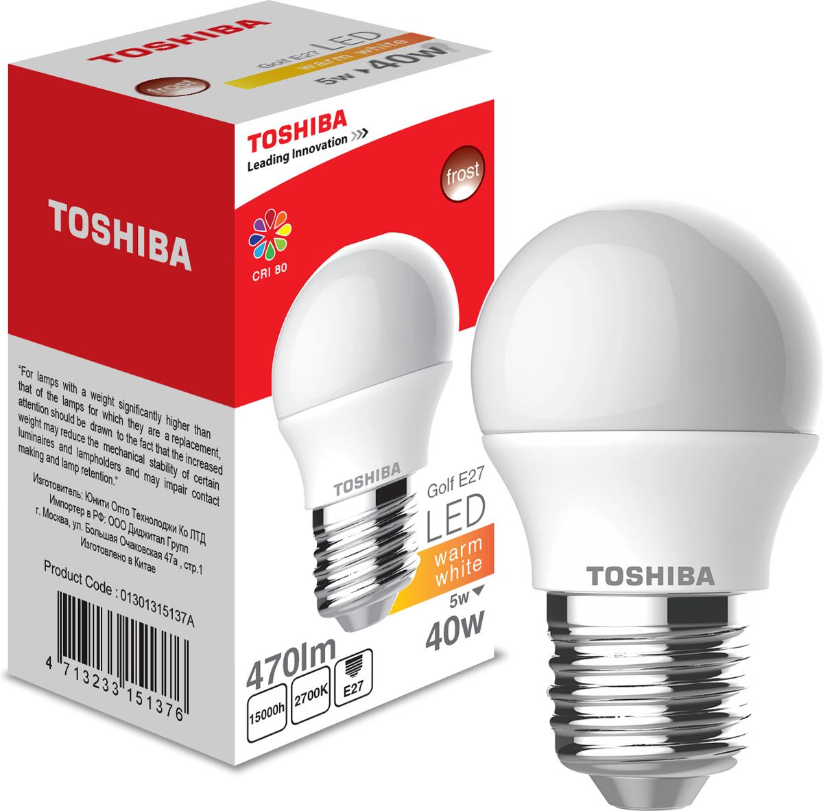 Лампа светодиодная Toshiba, теплый свет, цоколь E27, 5W. 1301315137A1301315137AЛампа светодиодная Toshiba является самым перспективным источником света. Основным преимуществом данного источника света является длительный срок службы и очень низкое энергопотребление, так, например, по сравнению с обычной лампой накаливания светодиодная лампа служит в среднем в 50 раз дольше и потребляет в 10-15 раз меньше электроэнергии.При этом светодиодная лампа практически не подвержена механическому воздействию из-за прочной конструкции и позволяет получить любой цвет светового потока, что, несомненно, расширяет возможности применения и позволяет создавать новые решения в области освещения.
