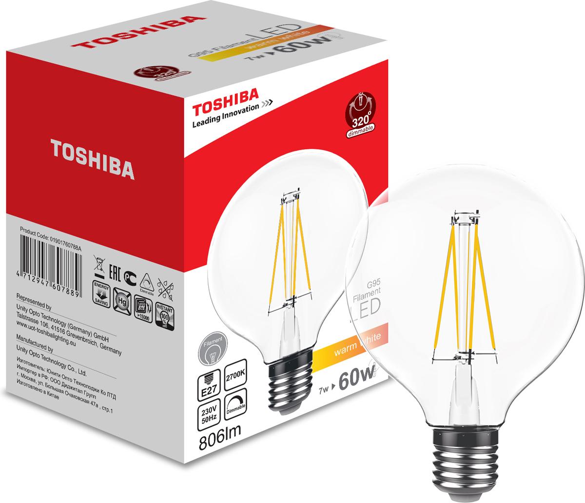 Лампа филаментная Toshiba, теплый свет, цоколь E27, 7W, 2700K. 1901760788A1901760788AФиламентные лампы, хоть и относятся к светодиодным, но и внешне, и конструктивно достаточно сильно от них отличаются. Несведущему человеку вообще может показаться, что это обычная лампа накаливания, только немного со странностями. На самом деле филаментные светодиодные лампы объединили лучшие качества привычных нам лампочек Ильича и современных led-ламп. Результат получился интересный, экономичный, экологичный и глазу весьма приятный. Филамент – основной функциональный элемент такой лампы, представляет собой светодиодную полоску особой конструкции. Внешним видом филаменты напоминают нить, потому некоторые так их и называют – лампочки на светодиодных нитях.