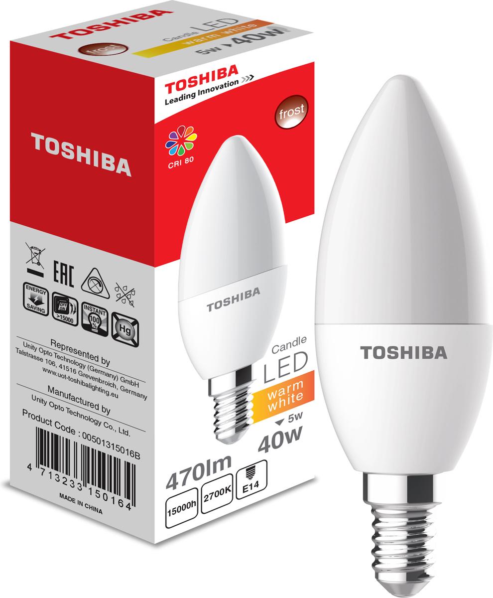 Лампа светодиодная Toshiba, теплый свет, цоколь E14, 5W, 2700K. 501315016B501315016BЛампа светодиодная Toshiba является самым перспективным источником света. Основным преимуществом данного источника света является длительный срок службы и очень низкое энергопотребление, так, например, по сравнению с обычной лампой накаливания светодиодная лампа служит в среднем в 50 раз дольше и потребляет в 10-15 раз меньше электроэнергии.При этом светодиодная лампа практически не подвержена механическому воздействию из-за прочной конструкции и позволяет получить любой цвет светового потока, что, несомненно, расширяет возможности применения и позволяет создавать новые решения в области освещения.