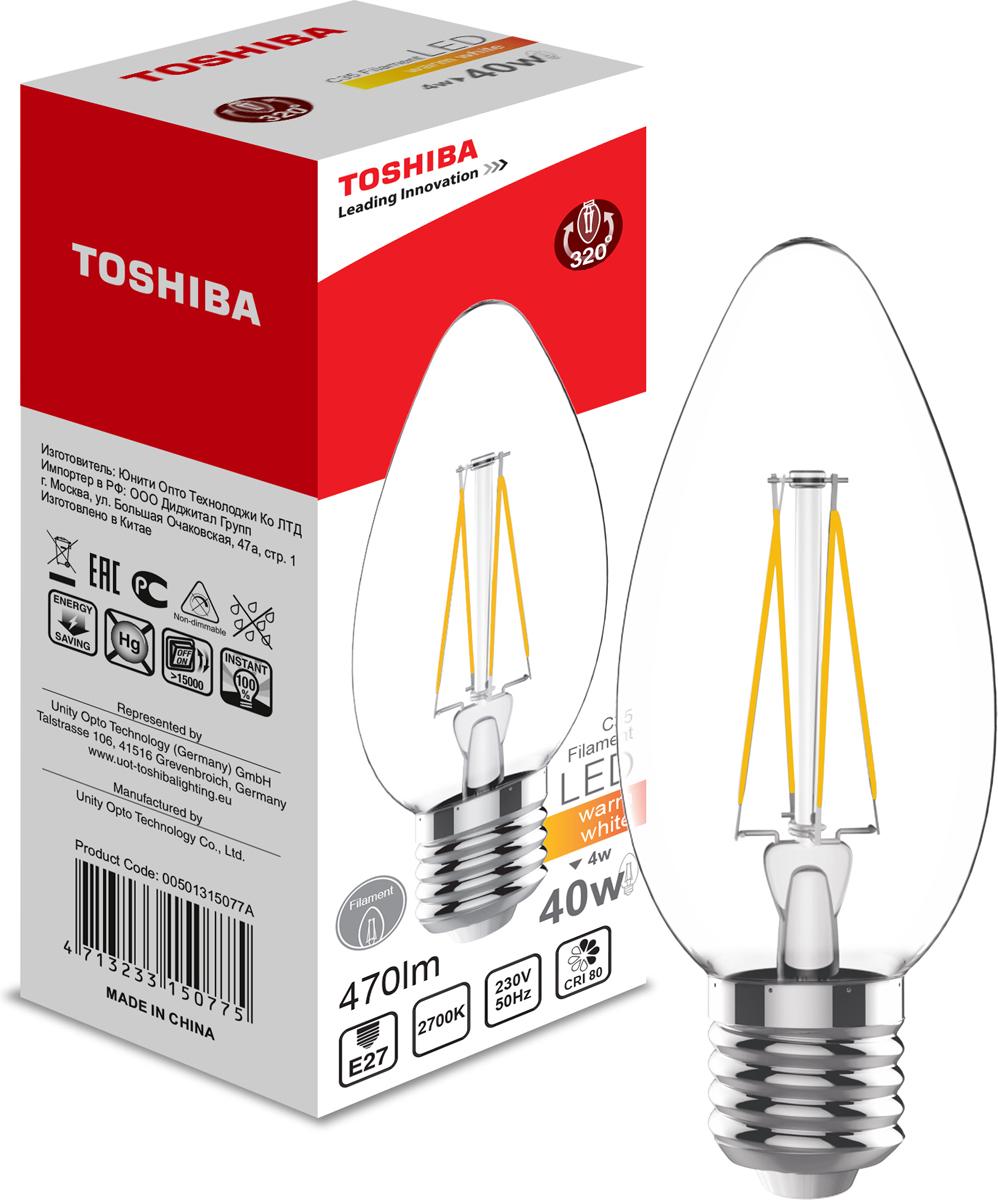 Лампа филаментная Toshiba, теплый свет, цоколь E27, 4W, 2700K. 501315077A501315077AФиламентные лампы, хоть и относятся к светодиодным, но и внешне, и конструктивно достаточно сильно от них отличаются. Несведущему человеку вообще может показаться, что это обычная лампа накаливания, только немного со странностями. На самом деле филаментные светодиодные лампы объединили лучшие качества привычных нам лампочек Ильича и современных led-ламп. Результат получился интересный, экономичный, экологичный и глазу весьма приятный. Филамент – основной функциональный элемент такой лампы, представляет собой светодиодную полоску особой конструкции. Внешним видом филаменты напоминают нить, потому некоторые так их и называют – лампочки на светодиодных нитях.