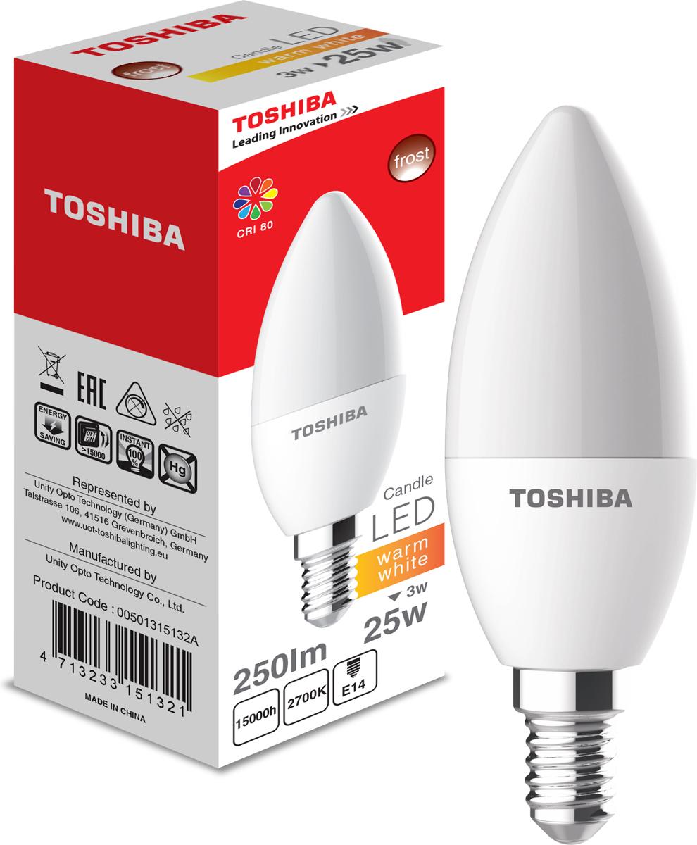 Лампа светодиодная Toshiba, теплый свет, цоколь E14, 3W, 2700K. 501315132A501315132AЛампа светодиодная Toshiba является самым перспективным источником света. Основным преимуществом данного источника света является длительный срок службы и очень низкое энергопотребление, так, например, по сравнению с обычной лампой накаливания светодиодная лампа служит в среднем в 50 раз дольше и потребляет в 10-15 раз меньше электроэнергии.При этом светодиодная лампа практически не подвержена механическому воздействию из-за прочной конструкции и позволяет получить любой цвет светового потока, что, несомненно, расширяет возможности применения и позволяет создавать новые решения в области освещения.