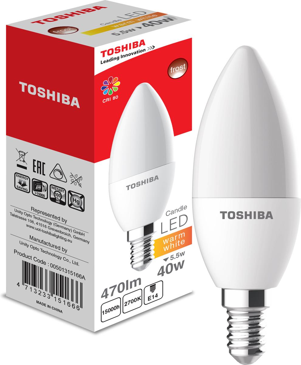 Лампа светодиодная Toshiba, теплый свет, цоколь E14, 5,5W, 2700K. 501315166A501315166AЛампа светодиодная Toshiba является самым перспективным источником света. Основным преимуществом данного источника света является длительный срок службы и очень низкое энергопотребление, так, например, по сравнению с обычной лампой накаливания светодиодная лампа служит в среднем в 50 раз дольше и потребляет в 10-15 раз меньше электроэнергии.При этом светодиодная лампа практически не подвержена механическому воздействию из-за прочной конструкции и позволяет получить любой цвет светового потока, что, несомненно, расширяет возможности применения и позволяет создавать новые решения в области освещения.