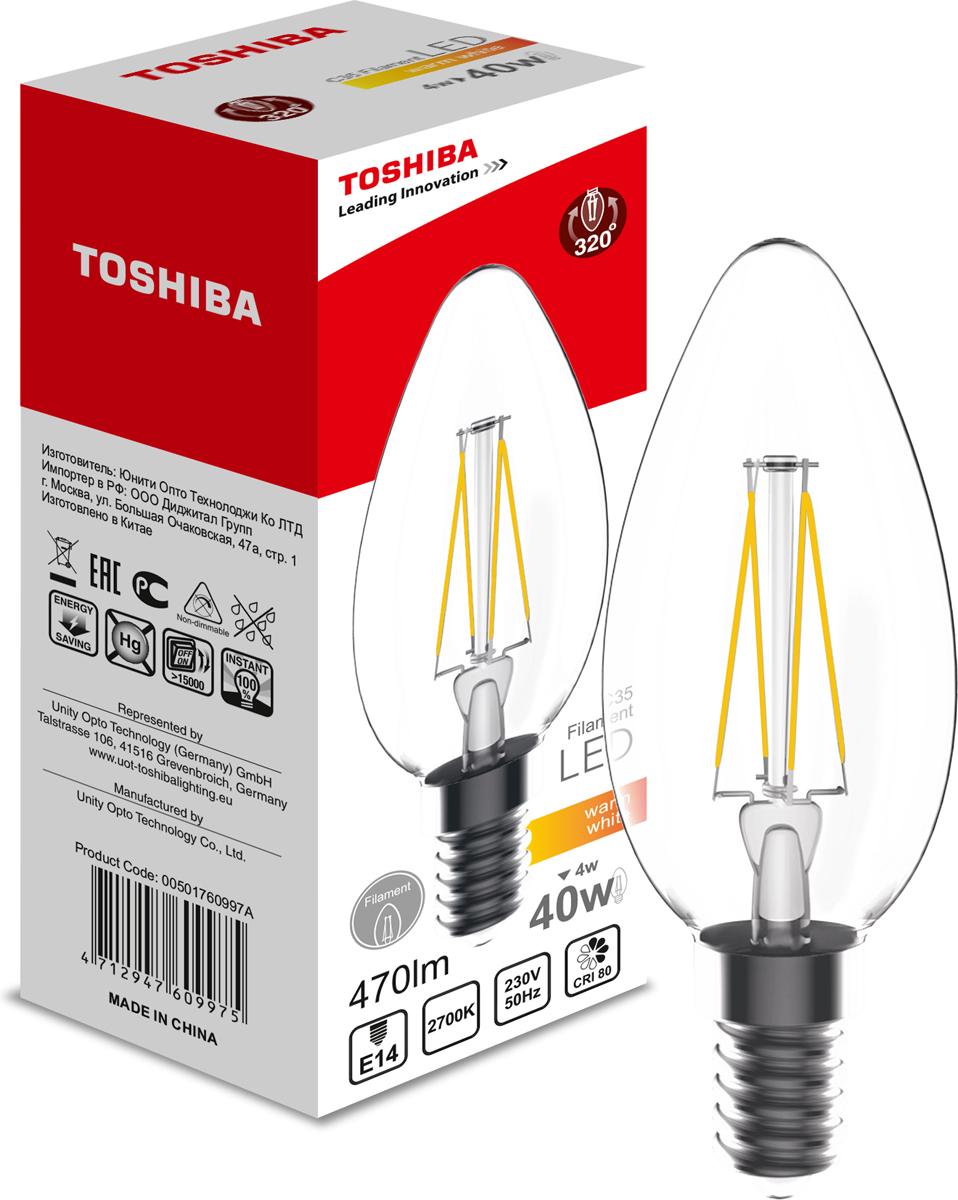 Лампа филаментная Toshiba, теплый свет, цоколь E14, 4W, 2700K. 501760997A501760997AФиламентные лампы, хоть и относятся к светодиодным, но и внешне, и конструктивно достаточно сильно от них отличаются. Несведущему человеку вообще может показаться, что это обычная лампа накаливания, только немного со странностями. На самом деле филаментные светодиодные лампы объединили лучшие качества привычных нам лампочек Ильича и современных led-ламп. Результат получился интересный, экономичный, экологичный и глазу весьма приятный. Филамент – основной функциональный элемент такой лампы, представляет собой светодиодную полоску особой конструкции. Внешним видом филаменты напоминают нить, потому некоторые так их и называют – лампочки на светодиодных нитях.