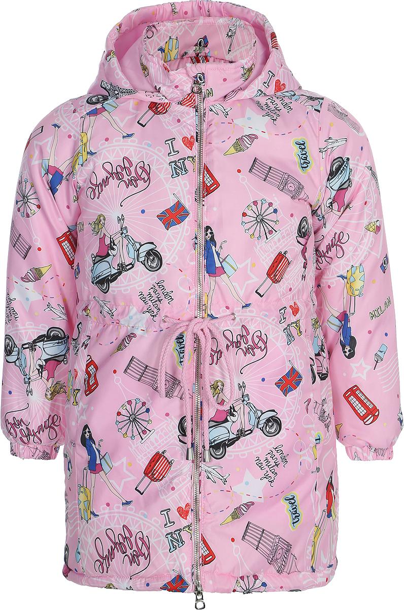 Пальто для девочки Acoola Bama, цвет: розовый. 20220610019_1400. Размер 12220220610019_1400Пальто с капюшоном Acoola Bama выполнено из 100% полиэстера. Изделие застегивается на молнию с защитой подбородка. На талии имеется кулиска.