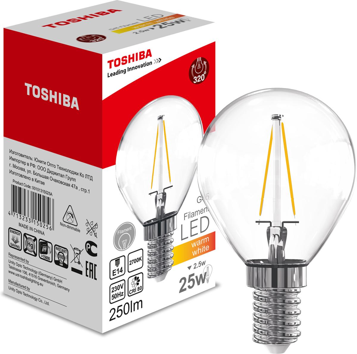 Лампа филаментная Toshiba, теплый свет, цоколь E14, 2,5W, 2700K. 101315025A101315025AФиламентные лампы, хоть и относятся к светодиодным, но и внешне, и конструктивно достаточно сильно от них отличаются. Несведущему человеку вообще может показаться, что это обычная лампа накаливания, только немного со странностями. На самом деле филаментные светодиодные лампы объединили лучшие качества привычных нам лампочек Ильича и современных led-ламп. Результат получился интересный, экономичный, экологичный и глазу весьма приятный. Филамент – основной функциональный элемент такой лампы, представляет собой светодиодную полоску особой конструкции. Внешним видом филаменты напоминают нить, потому некоторые так их и называют – лампочки на светодиодных нитях.