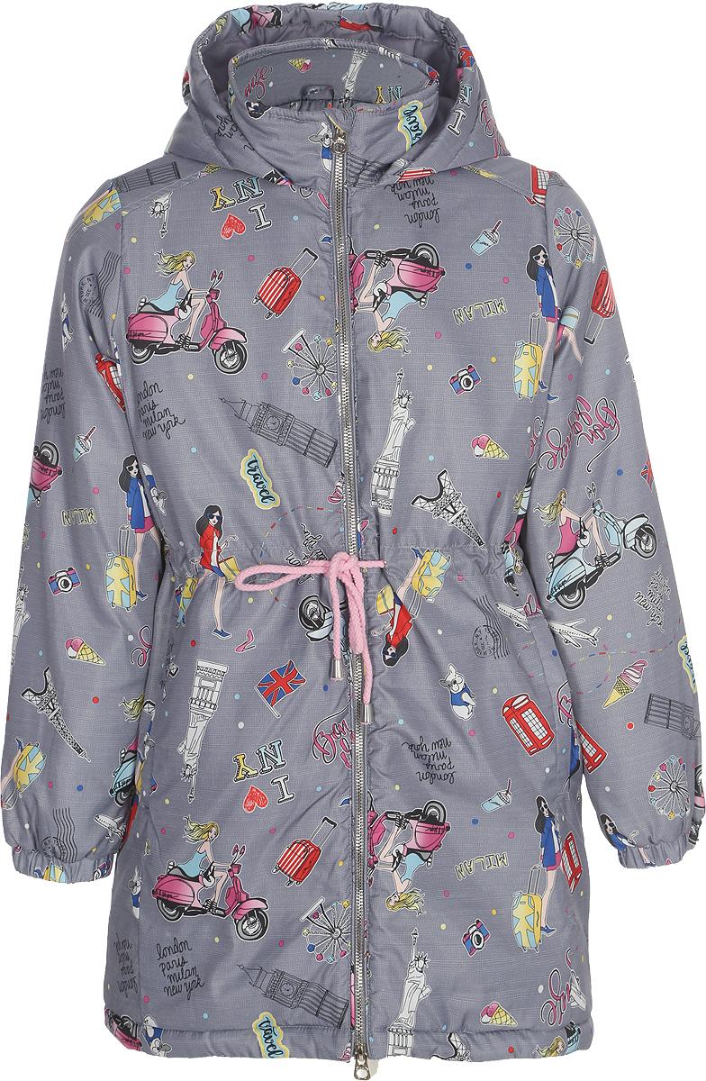 Пальто для девочки Acoola Bama, цвет: серый. 20210610024_1900. Размер 14020210610024_1900Пальто с капюшоном Acoola Bama выполнено из 100% полиэстера. Изделие застегивается на молнию с защитой подбородка. На талии имеется кулиска.