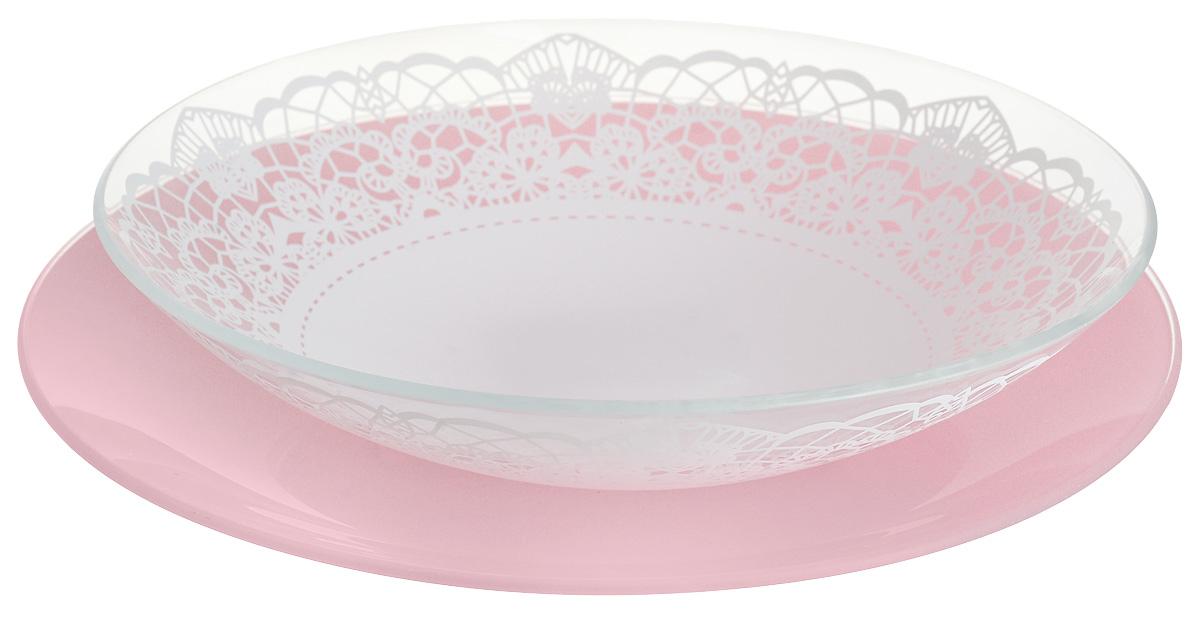 Набор тарелок глубокая NiNaGlass, цвет: розовый, диаметр 25 см, 2 шт. 85-225-143пср85-225-143псрНабор тарелок NiNaGlass Кружево и Палитра выполнена из высококачественного стекла, декорирована под Вологодское кружево и подстановочная тарелка яркий насыщенный цвет. Набор идеален для подачи горячих блюд, сервировки праздничного стола, нарезок, салатов, овощей и фруктов. Он отлично подойдет как для повседневных, так и для торжественных случаев. Такой набор прекрасно впишется в интерьер вашей кухни и станет достойным дополнением к кухонному инвентарю.