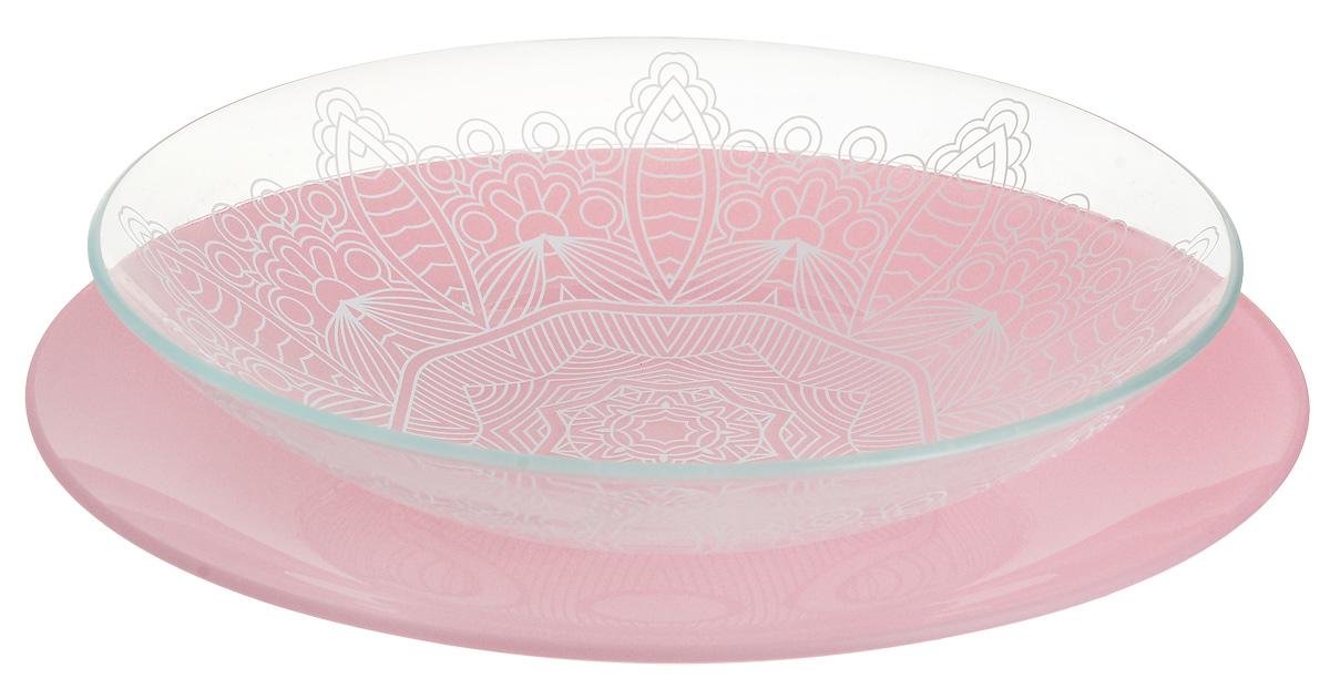 Набор тарелок глубокая NiNaGlass, цвет: розовый, диаметр 25 см, 2 шт85-225-149псрНабор тарелок NiNaGlass Кружево и Палитра выполнена из высококачественного стекла, декорирована под Вологодское кружево и подстановочная тарелка яркий насыщенный цвет. Набор идеален для подачи горячих блюд, сервировки праздничного стола, нарезок, салатов, овощей и фруктов. Он отлично подойдет как для повседневных, так и для торжественных случаев. Такой набор прекрасно впишется в интерьер вашей кухни и станет достойным дополнением к кухонному инвентарю.