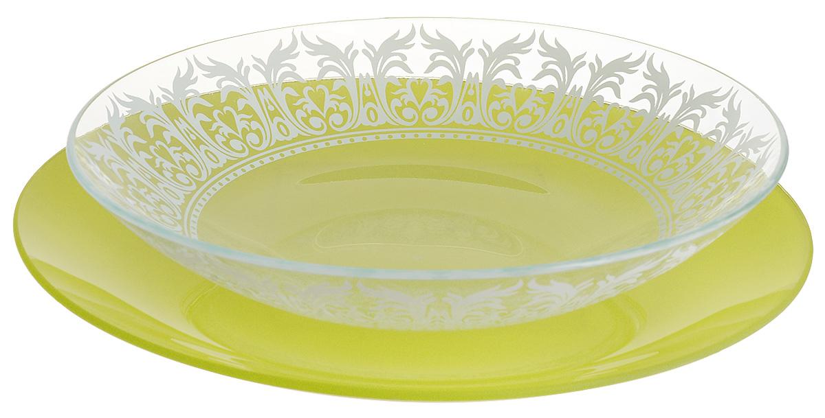 Набор тарелок глубокая NiNaGlass, цвет: зеленый, диаметр 25 см, 2 шт. 85-225-144псз85-225-144псзНабор тарелок NiNaGlass Кружево и Палитра выполнена из высококачественного стекла, декорирована под Вологодское кружево и подстановочная тарелка яркий насыщенный цвет. Набор идеален для подачи горячих блюд, сервировки праздничного стола, нарезок, салатов, овощей и фруктов. Он отлично подойдет как для повседневных, так и для торжественных случаев. Такой набор прекрасно впишется в интерьер вашей кухни и станет достойным дополнением к кухонному инвентарю.