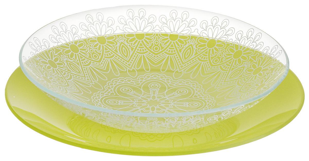 Набор тарелок глубокая NiNaGlass, цвет: зеленый, диаметр 25 см, 2 шт. 85-225-146псз85-225-146псзНабор тарелок NiNaGlass Кружево и Палитра выполнена из высококачественного стекла, декорирована под Вологодское кружево и подстановочная тарелка яркий насыщенный цвет. Набор идеален для подачи горячих блюд, сервировки праздничного стола, нарезок, салатов, овощей и фруктов. Он отлично подойдет как для повседневных, так и для торжественных случаев. Такой набор прекрасно впишется в интерьер вашей кухни и станет достойным дополнением к кухонному инвентарю.