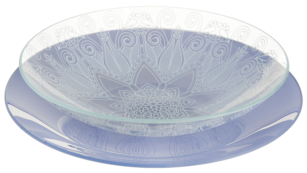 Набор тарелок глубокая NiNaGlass, цвет: сизый, диаметр 25 см, 2 шт85-225-145псНабор тарелок NiNaGlass Кружево и Палитра выполнена из высококачественного стекла, декорирована под Вологодское кружево и подстановочная тарелка яркий насыщенный цвет. Набор идеален для подачи горячих блюд, сервировки праздничного стола, нарезок, салатов, овощей и фруктов. Он отлично подойдет как для повседневных, так и для торжественных случаев. Такой набор прекрасно впишется в интерьер вашей кухни и станет достойным дополнением к кухонному инвентарю.