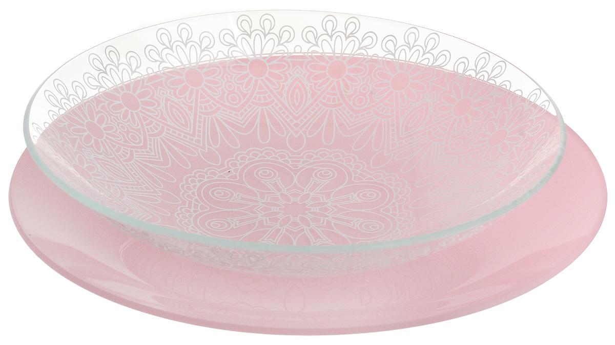 Набор тарелок глубокая NiNaGlass, цвет: розовый, диаметр 25 см, 2 шт. 85-225-146пср85-225-146псрНабор тарелок NiNaGlass Кружево и Палитра выполнена из высококачественного стекла, декорирована под Вологодское кружево и подстановочная тарелка яркий насыщенный цвет. Набор идеален для подачи горячих блюд, сервировки праздничного стола, нарезок, салатов, овощей и фруктов. Он отлично подойдет как для повседневных, так и для торжественных случаев. Такой набор прекрасно впишется в интерьер вашей кухни и станет достойным дополнением к кухонному инвентарю.