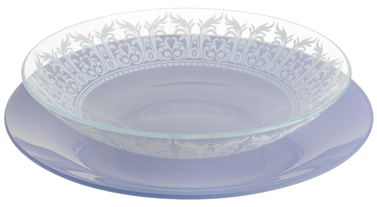 Набор тарелок глубокая NiNaGlass, цвет: голубой, диаметр 25 см, 2 шт. 85-225-144пс85-225-144псНабор тарелок NiNaGlass Кружево и Палитра выполнена из высококачественного стекла, декорирована под Вологодское кружево и подстановочная тарелка яркий насыщенный цвет. Набор идеален для подачи горячих блюд, сервировки праздничного стола, нарезок, салатов, овощей и фруктов. Он отлично подойдет как для повседневных, так и для торжественных случаев. Такой набор прекрасно впишется в интерьер вашей кухни и станет достойным дополнением к кухонному инвентарю.