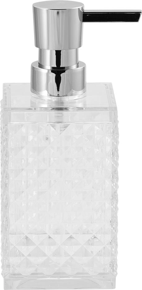 Диспенсер для мыла Swensa Rapas, цвет: прозрачный, 250 млSWP-0660TRP-AПластиковый дозатор для жидкого мыла из коллекции Swensa Rapas станет завершающим аккордом в оформлении ванной комнаты. Изящный узор на флаконе внесет нотки изысканности. Сочетание материалов прекрасно подойдет под любой стиль, в котором выполнена ванная комната. Купив аксессуар стоит для обеспечения высокой степени гигиеничности. Насадка-дозатор специально изготовлена для предотвращения попадания микробов с рук в емкость