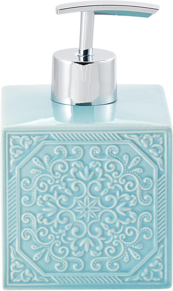 Диспенсер для мыла Swensa Тифани, цвет: бирюзовый, 250 млSWTK-1053AДозатор для жидкого мыла Тифани обеспечит комфортное использованиесредств для личной гигиены в ванной комнате. Представленная модельизготовлена из керамики, дает изделию устойчивость к механическимповреждениям. Уникальный дизайн дозатора сделает его ярким штрихом влюбом интерьере. Подобрав другие аксессуары из коллекции Тифани в единомстиле, можно оригинально оформить ими помещение.