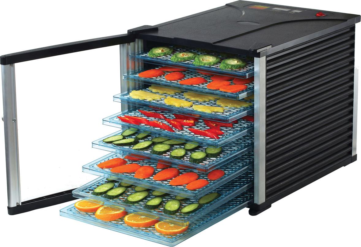 Gemlux GL-FD-800D, Black сушилка для овощей и фруктовGL-FD-800DЭлектронное управление с ЖК-дисплеем, рабочая температура 30-70 градусов С, таймер на 40 ч 59 мин, 8 поддонов 345 х 385 мм, прозрачная распашная дверца, материал корпуса: пластмасса.