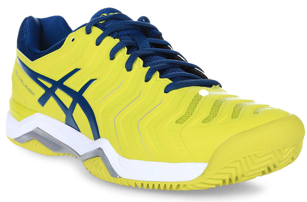 Кроссовки для тенниса мужские Asics Gel-Challenger 11 Clay, цвет: желтый. E704Y-8945. Размер 10H (43)E704Y-8945Теннисные кроссовки с улучшенными техническими характеристиками Asics Gel-Challenger 11 Clay обеспечивают ногам комфорт и позволяют легче двигаться по кортам любого вида, в том числе по грунтовым. Технология Personal Heel Fit с эффектом памяти обеспечивает индивидуальную облегающую посадку, делая обувь более комфортной по мере носки, а дискретные петлиулучшают прилегание к верхней части стопы и уменьшают риск натирания. Система амортизации Gel в задней и основной части ступни поглощает удар при приземлении, делая его мягче, а защита пальцев PGuards toe protector гарантирует выносливость.Эта новая модель кроссовок обеспечивает исключительный комфорт благодаря системе амортизации в задней и передней части Rearfoot and Forefoot GEL, а также большую устойчивость в средней части стопы благодаря технологии Flexion Fit для верха кроссовка. Она идеальна для игры в любительский теннис. Особенности: Биоморфик для обуви: Технология Биоморфик внедрена в те части верха обуви, в которых наблюдается максимальная степень деформации. Гарантирует прилегание обуви к стопе, снижает риск травм, улучшает результаты.I.G.S./АйДжиЭс (Система распределения удара) - философия дизайна обуви ASICS. Позволяет стопе спортсмена работать более естественным образом, преображаясь под индивидуальную походку и тип ноги.Solyte/Солайт (материал средней подошвы) - суперлегкий материал (легче стандартной EVA и SpEVA), гарантирующий повышенную амортизацию и износостойкость.Система Трасстик: литой элемент, расположенный под центральной частью подошвы. Обеспечивает стабильность, легкость, предотвращает скручивание стопы.