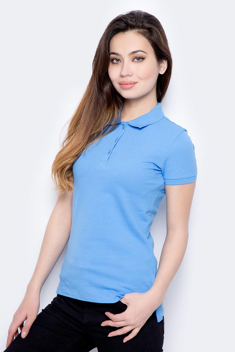 Поло женское Sela, цвет: нежно-голубой. Tsp-111/339-8182. Размер XS (42)Tsp-111/339-8182Поло женское Sela выполнено из хлопка с добавлением эластана. Модель с отложным воротником и короткими рукавами.