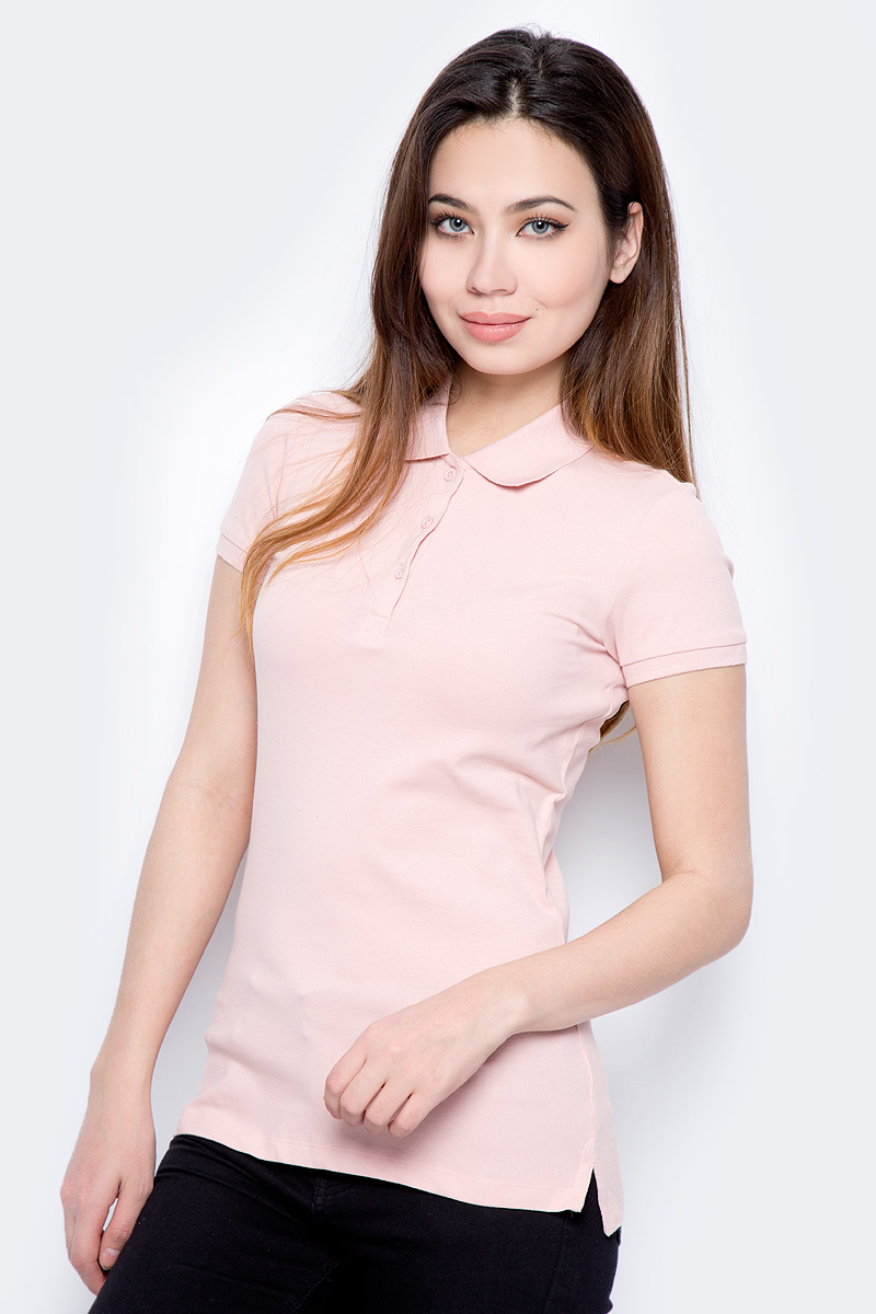 Поло женское Sela, цвет: серебристо-розовый. Tsp-111/339-8182. Размер M (46)Tsp-111/339-8182Поло женское Sela выполнено из хлопка с добавлением эластана. Модель с отложным воротником и короткими рукавами.