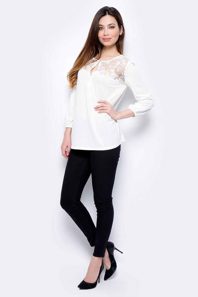 Блузка женская Sela, цвет: белый. Bk-112/276-8112. Размер L (48)Bk-112/276-8112Блузка женская Sela выполнена из хлопка и полиэстера. Модель с круглым вырезом горловины и длинными рукавами.