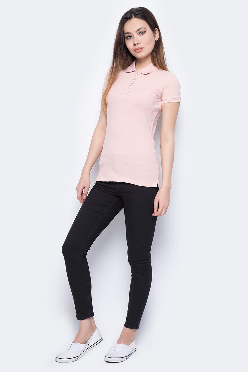Поло женское Sela, цвет: серебристо-розовый. Tsp-111/339-8182. Размер S (44)Tsp-111/339-8182Поло женское Sela выполнено из хлопка с добавлением эластана. Модель с отложным воротником и короткими рукавами.