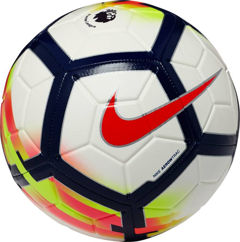Мяч футбольный Nike Premier League Strike Football. Размер 5SC3148-100Футбольный мяч Premier League Strike идеально подходит для ежедневных игр. Благодаря графике Visual Power его легко отслеживать на поле, а укрепленная резиновая камера обеспечивает упругость и сохранение формы. Текстурированное покрытие для превосходного касания. Желобки Nike Aerowtrac для точной траектории полета мяча. Конструкция из 12 панелей для точной траектории полета.Рельефное покрытие из материала TPU обеспечивает оптимальное касание и контроль мяча. Машинная строчка усиливает прочность и улучшает касание для длительного сохранения функциональных качеств. Усиленная бутиловая камера отлично сохраняет форму. Эмблема Английской Премьер-лиги по центру мяча.