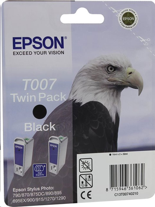 Epson T007402, Black картридж для Stylus Photo 870/1270T007402 BlackОригинальный комплект Epson T007402 из двух черных картриджей.