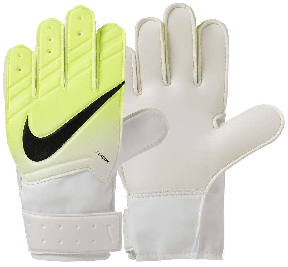 Перчатки вратарские детские Nike Jr. Match Goalkeeper Football Glove, цвет: желтый, белый. Размер 3GS0331-100Футбольная перчатка Nike Jr. Match Goalkeeper с амортизирующей вставкой для защиты рук от ударов мяча обеспечивает уверенное сцепление для закрученных мячей при любых условиях. Гладкий латексный пеноматериал в области ладони улучшает сцепление в любых условиях. Специальная манжета для регулируемой и надежной посадки. Перфорация на пальцах усиливает вентиляцию. Традиционный крой для надежного результата и посадки.