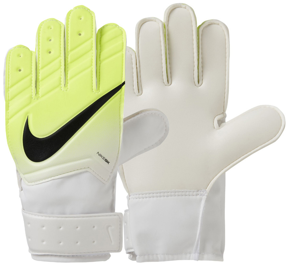 Перчатки вратарские детские Nike Jr. Match Goalkeeper Football Glove, цвет: желтый, белый. Размер 6GS0331-100Футбольная перчатка Nike Jr. Match Goalkeeper с амортизирующей вставкой для защиты рук от ударов мяча обеспечивает уверенное сцепление для закрученных мячей при любых условиях. Гладкий латексный пеноматериал в области ладони улучшает сцепление в любых условиях. Специальная манжета для регулируемой и надежной посадки. Перфорация на пальцах усиливает вентиляцию. Традиционный крой для надежного результата и посадки.