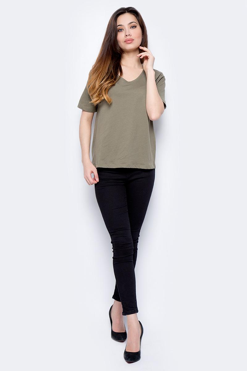 Футболка женская Sela, цвет: серовато-оливковый. Ts-111/247-8182. Размер S (44)Ts-111/247-8182Футболка женская Sela выполнена из натурального хлопка. Модель с V-образным вырезом горловины и короткими рукавами.
